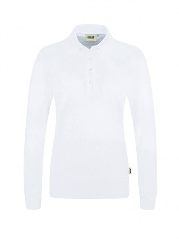 Women-Longsleeve-Poloshirt Performance Weiss