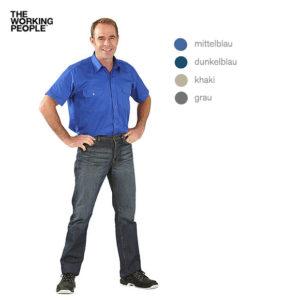 Viertelarm Köperhemd / Mittelblau